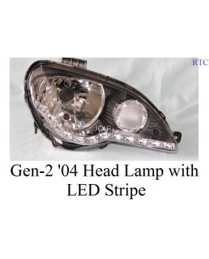 HEAD LAMP - GEN-2 '04 SET BLK WITH LED